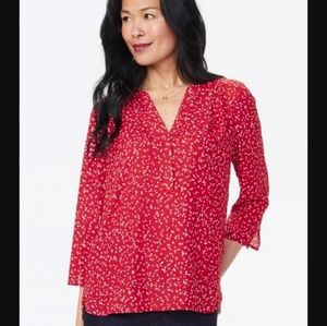 NYDJ Perfect 3/4 Blouse in Strawberry Polka Dot